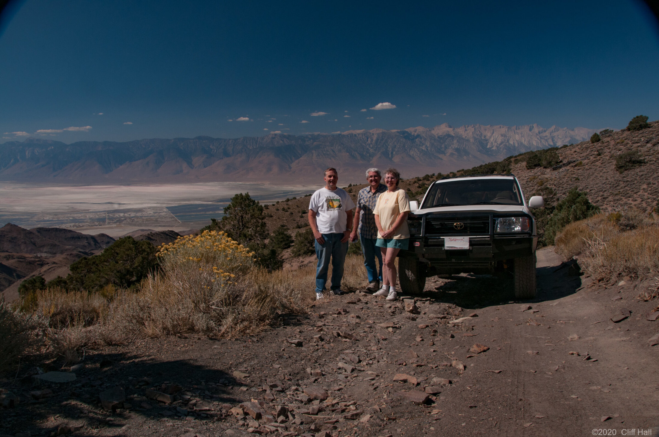 Cliff, Leonard and Susan. Owens Lake and Sierras behind