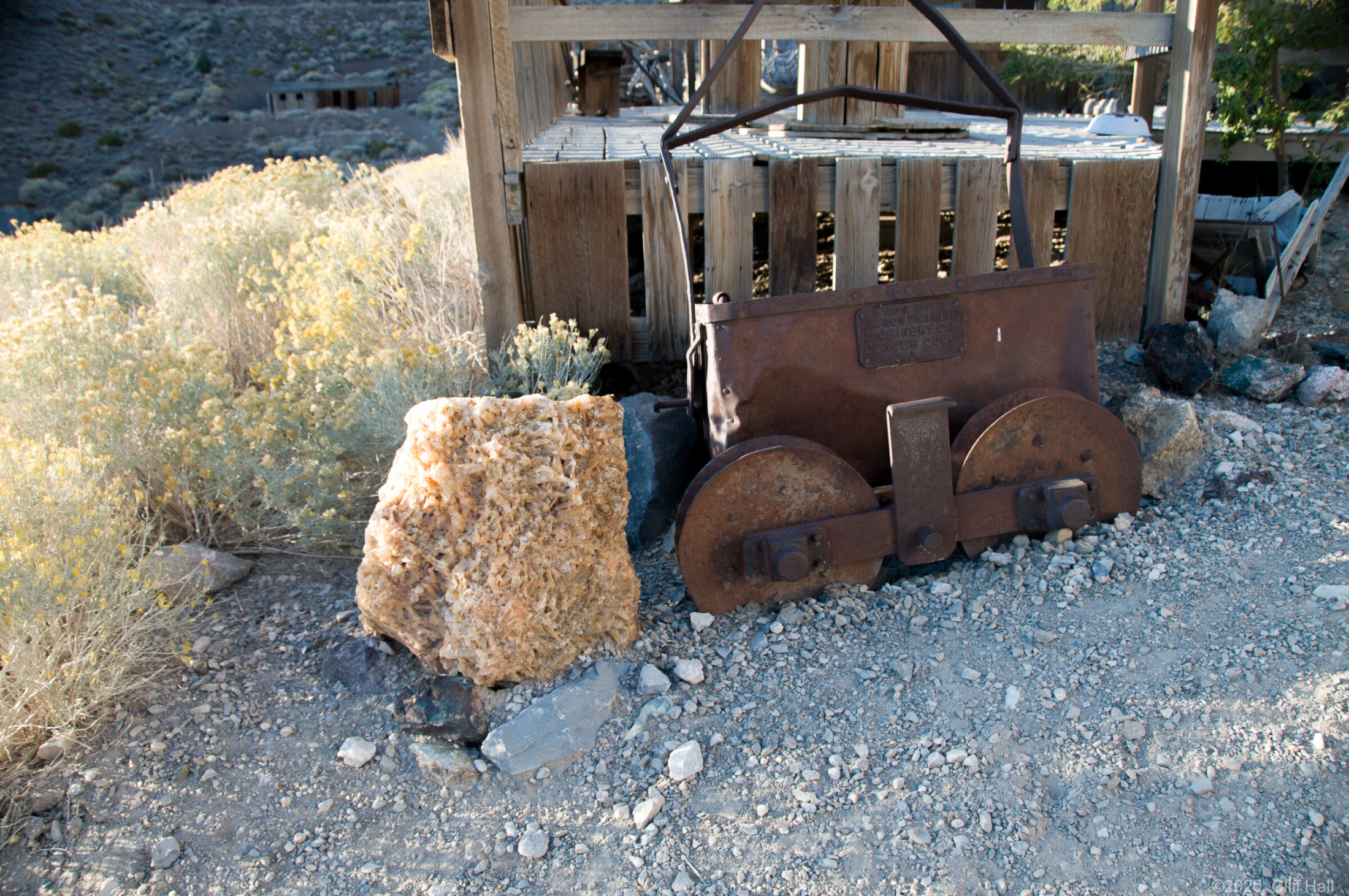 Rollers and bucket for arial tramway to take silver ore to the b