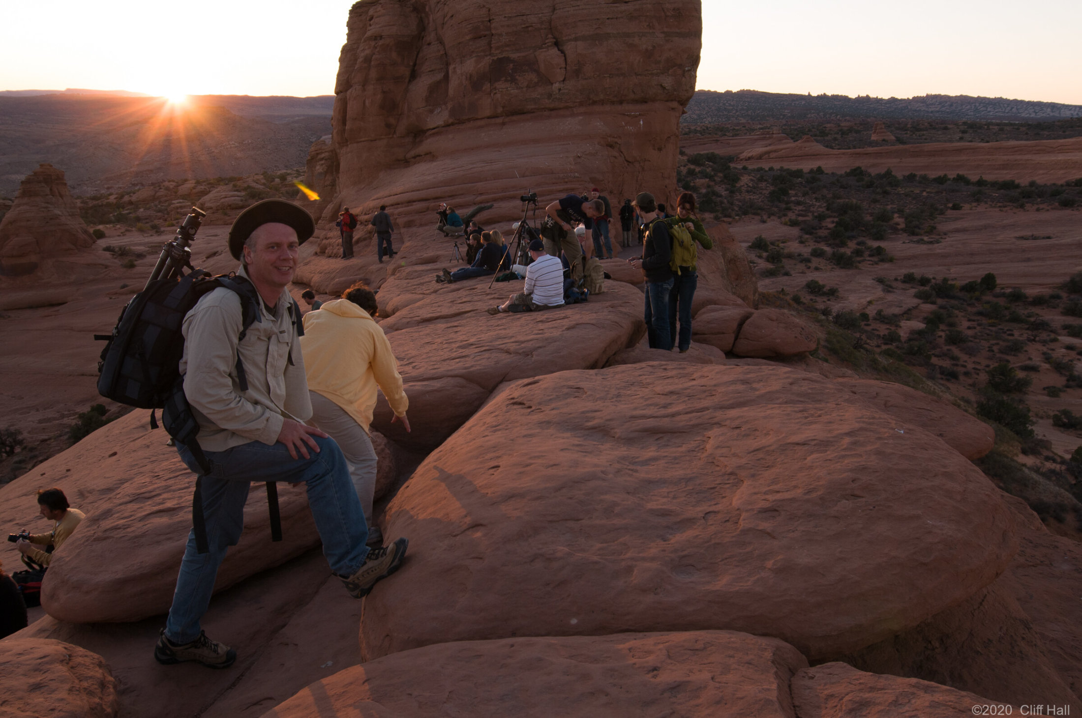 Delicate Arch fans pack up after sunset, Arches Nat Park