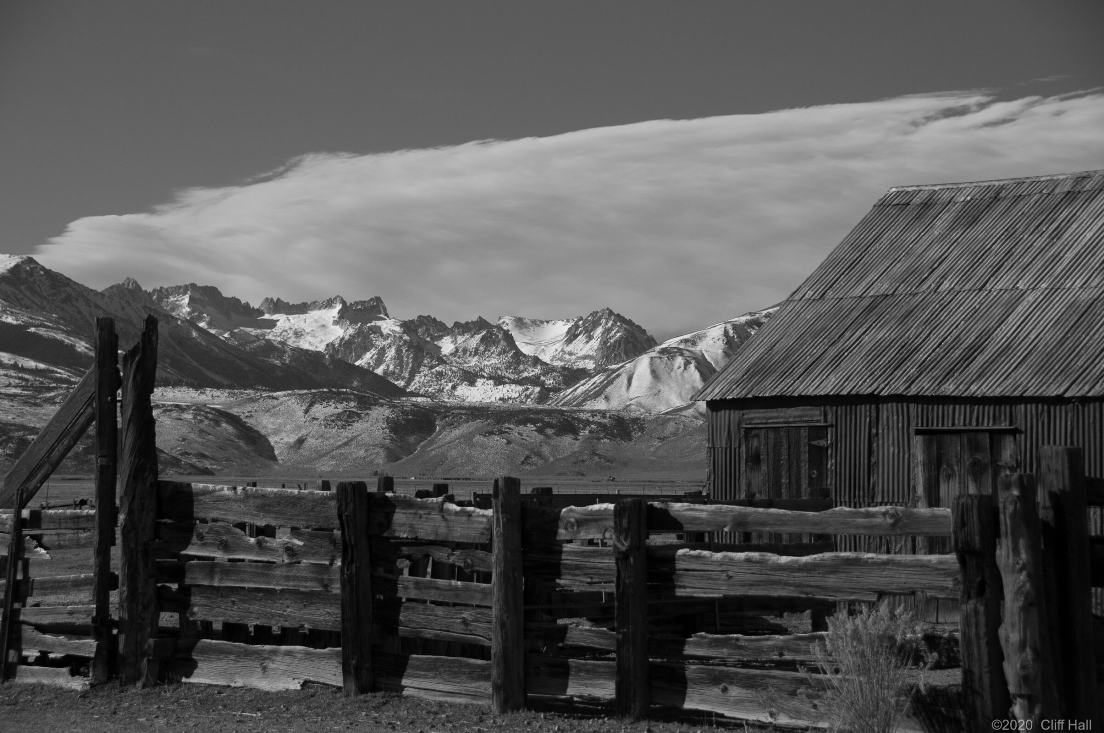 Old ranch with Sawtooth Range in the background