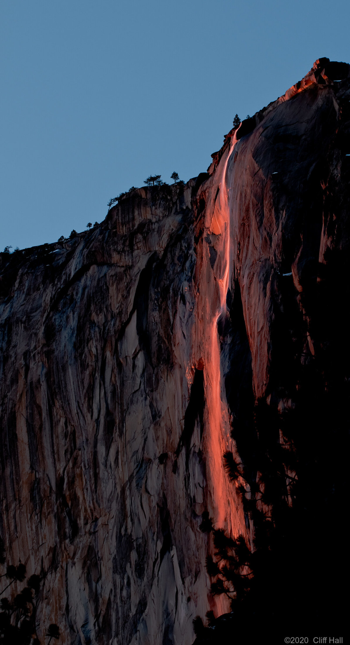 Horsetail Falls with rare sunset glow