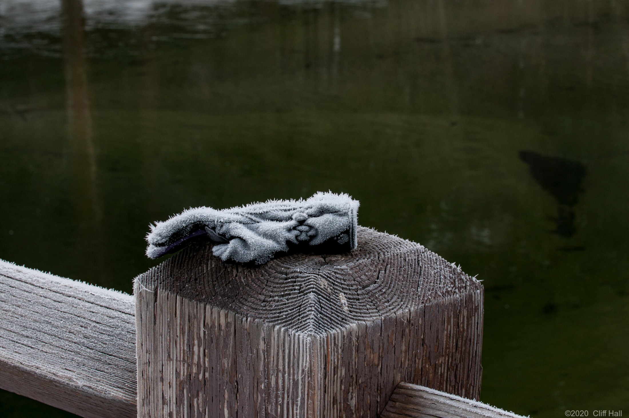 Frosted glove on the bridge