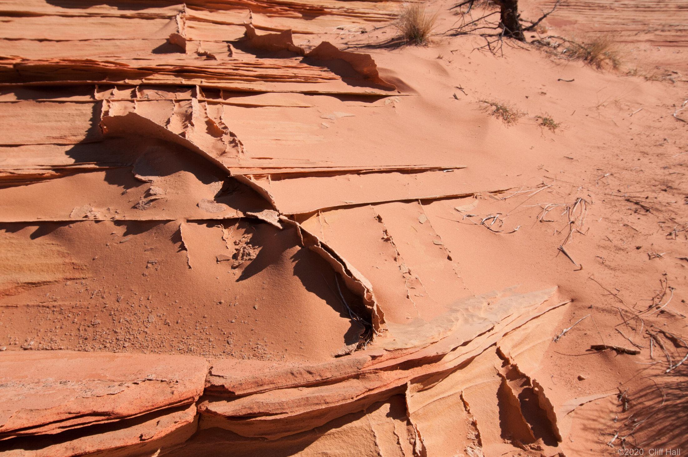 Paper thin sandstone fins