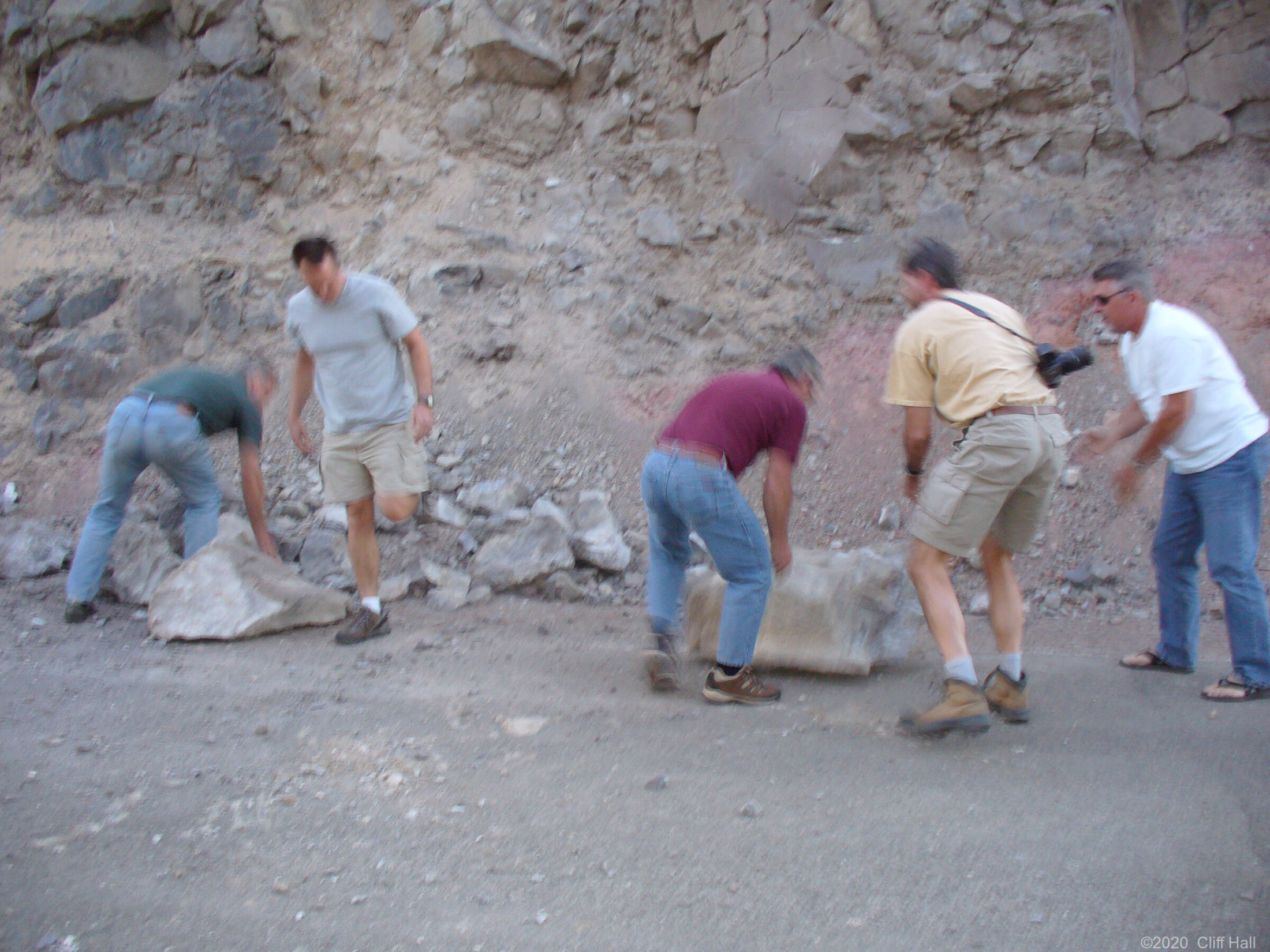 Working on the road gang, near Lone Pine, CA