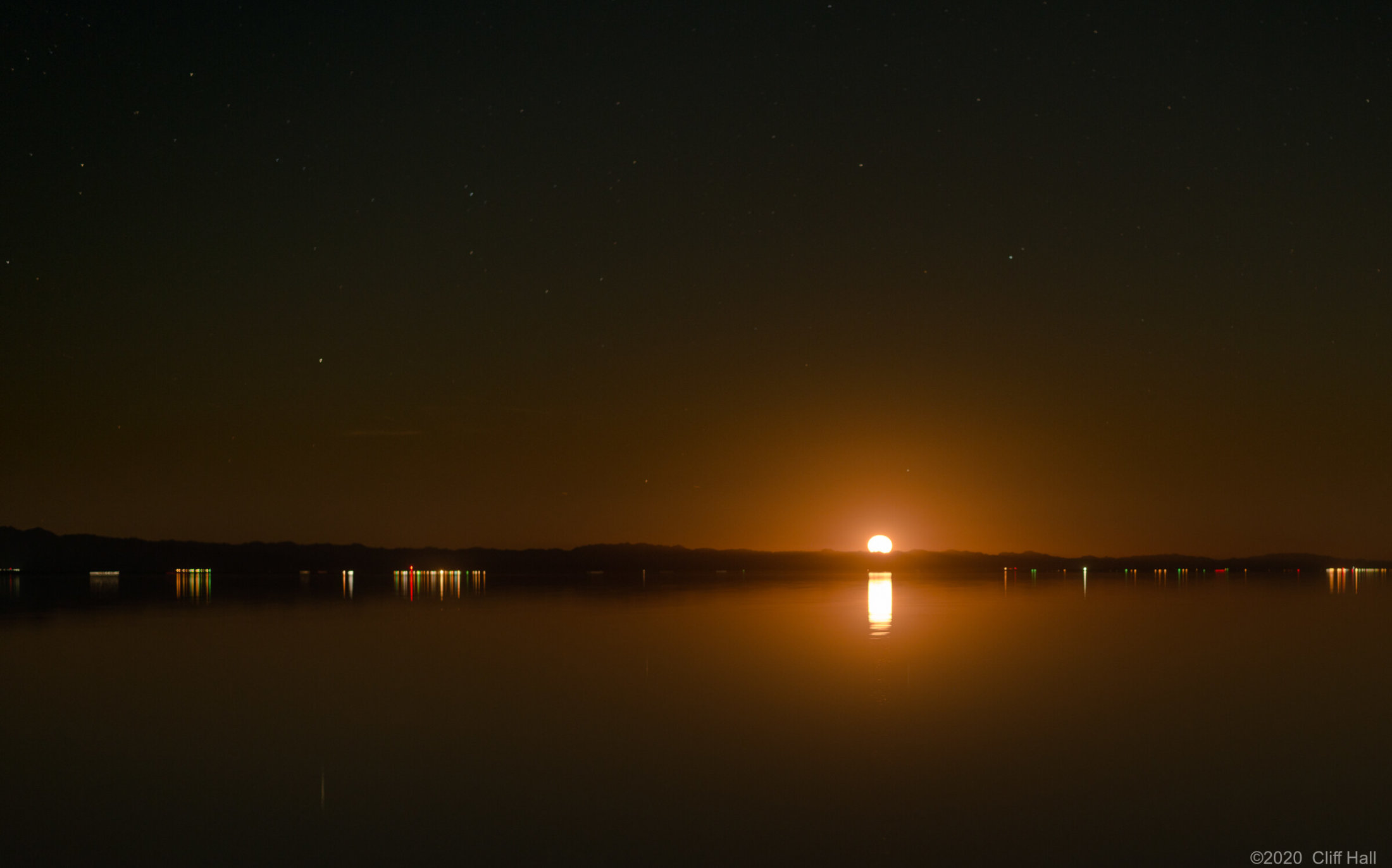 Moon rising from the Salton Sea