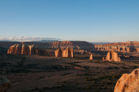 The sun starting to set on Cathedral Valley