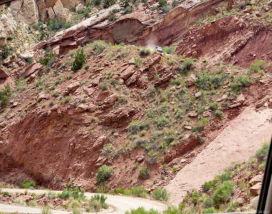 Don coming down the Burr Trail switchbacks