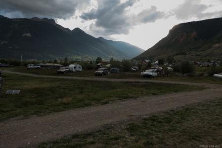 Folks setting up camp
