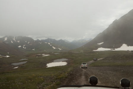 Rain blowing in on Hurricane Pass at 12,730 feet