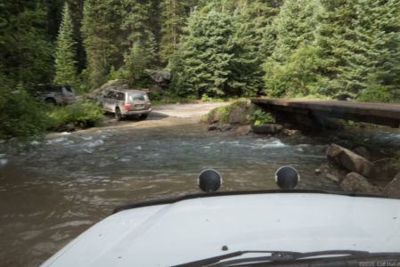 Starting on Imogene Pass Rd with a stream crossing