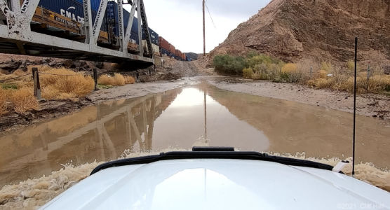 Cross under the train and ford the Mojave River