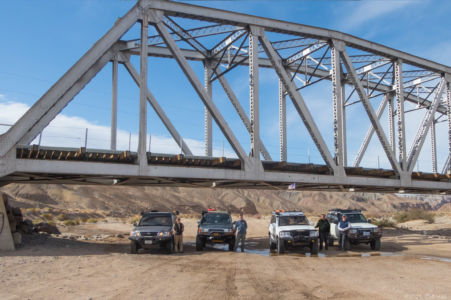 Land Cruiser pose in the Mojave River.  Duc, Ben, Cliff & Don