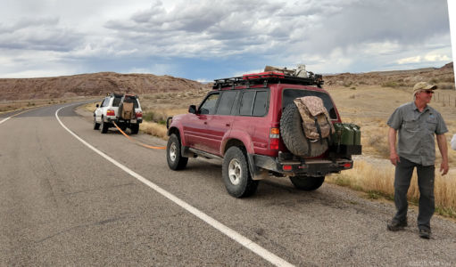 Don and Cliff getting ready to tow Vince to Green River